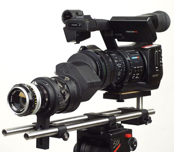 The Cinevate Brevis35 77mm adapter mounted on a Sony PMW-EX1