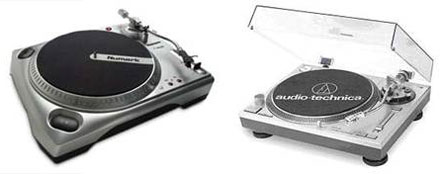 Two sweet entry-level DJ turntables are the Numark TT1650 and the Audio Technica AT PL-120