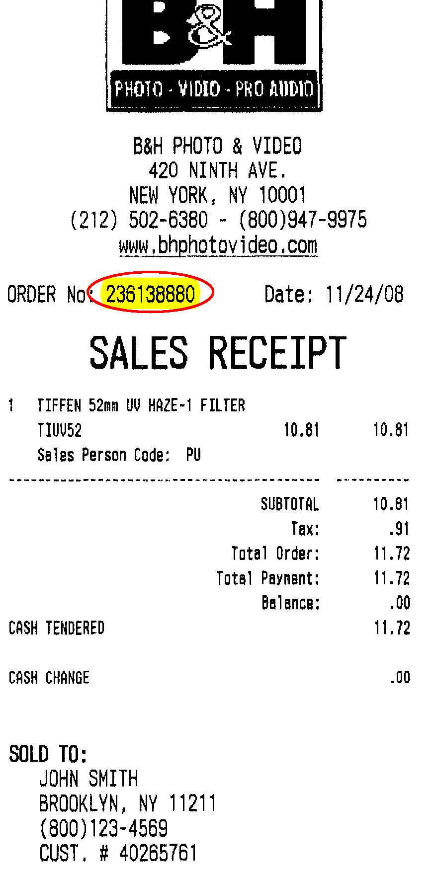 Store Survey sn10 – Store Receipt Template