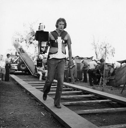 Garrett Brown with a Steadicam prototype on its first feature film, Bound for Glory in 1975