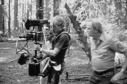 Shooting the background plates for the speeder bike sequence in Return of the Jedi with special effects wizard Dennis Muren
