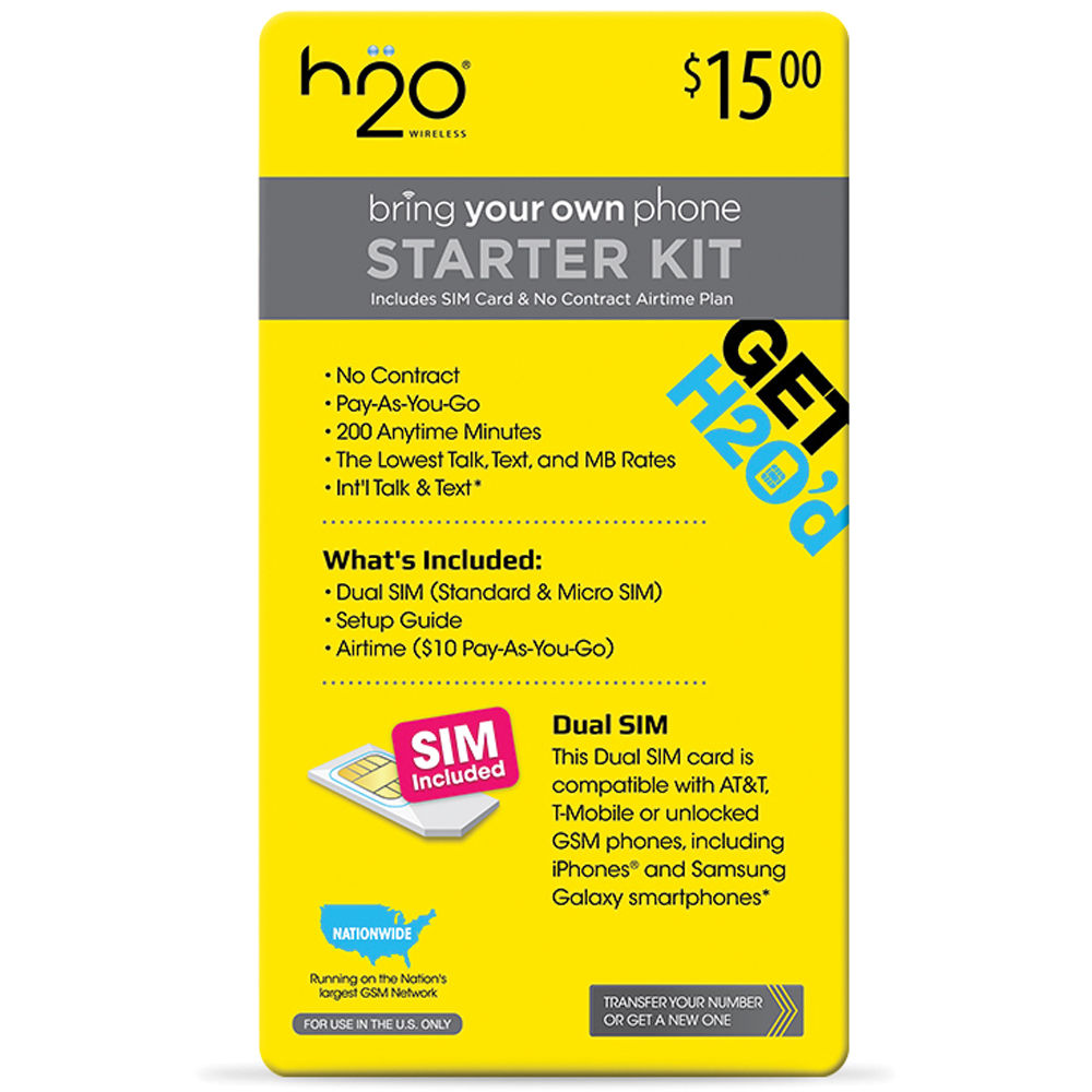 H2O WIRELESS $10 Pay-As-You-Go Plan and Dual 10-BUNDLE-AIRTIME