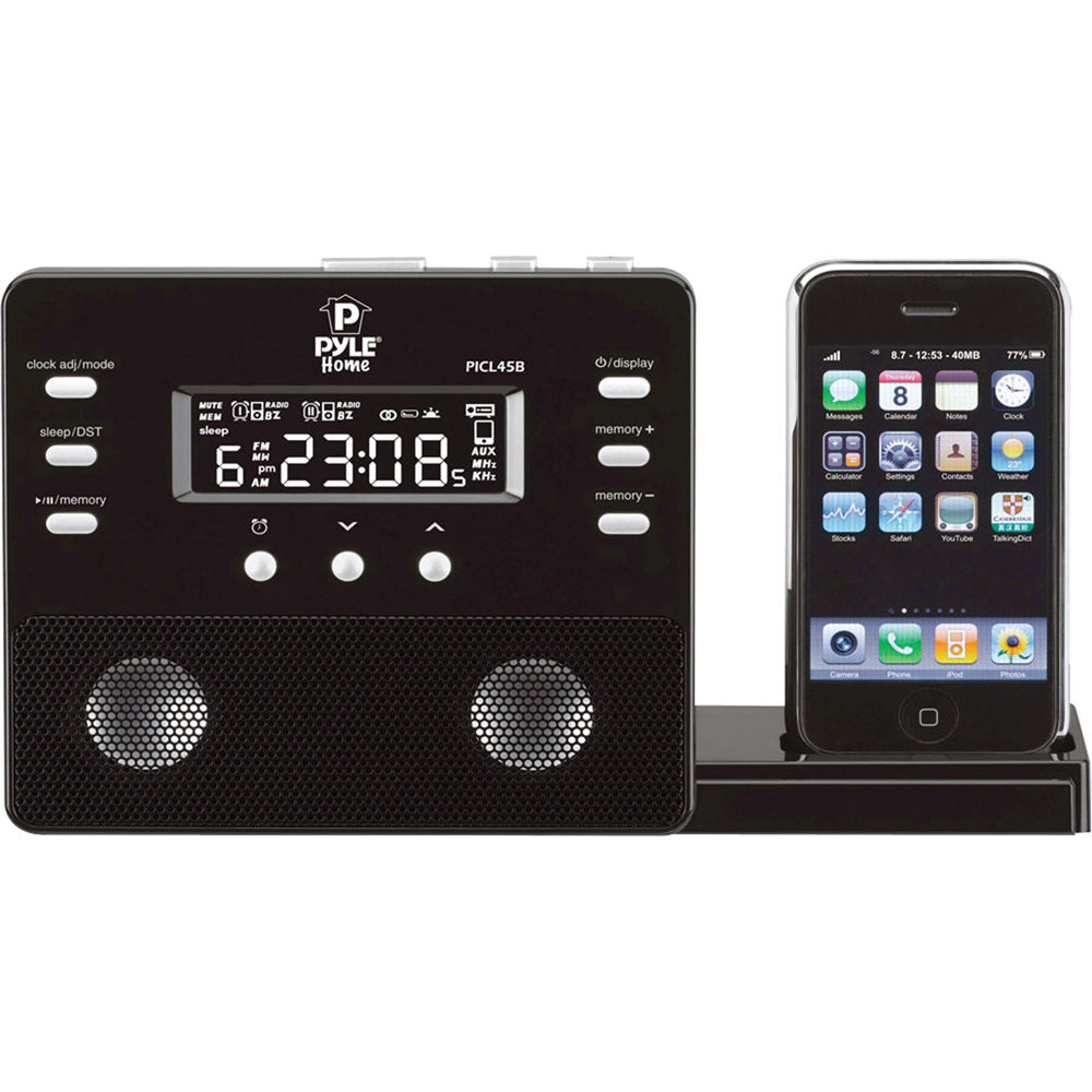 pyle home enhanced ipod iphone alarm clock speaker picl45b b h. Black Bedroom Furniture Sets. Home Design Ideas