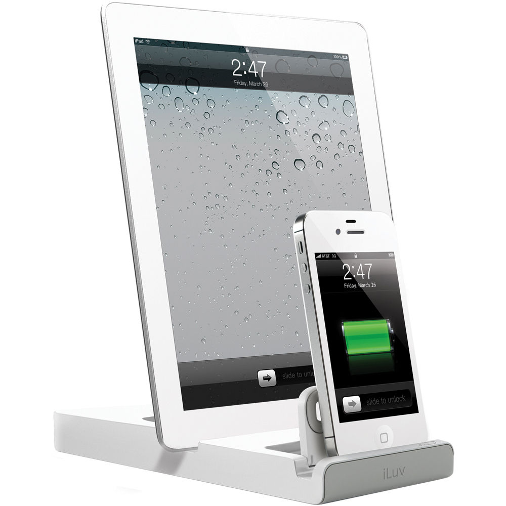 iluv iad302 doubleup dual dock charger for ipad iad302wht b h. Black Bedroom Furniture Sets. Home Design Ideas