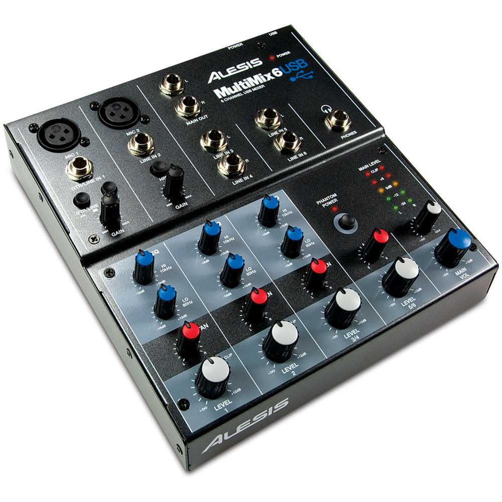 alesis multimix 6 usb 6 channel audio mixer multimix 6 usb b h. Black Bedroom Furniture Sets. Home Design Ideas