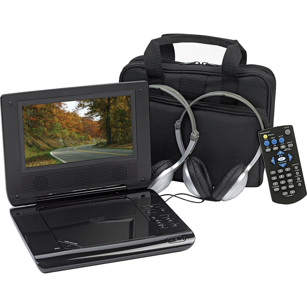 audiovox d705pk 7 portable dvd player w car d705pk b h. Black Bedroom Furniture Sets. Home Design Ideas