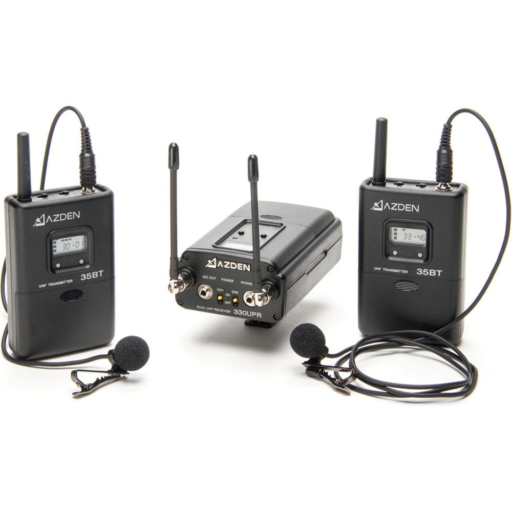 Azden 330LT UHF On-Camera Dual Bodypack System 330LT B&H Photo