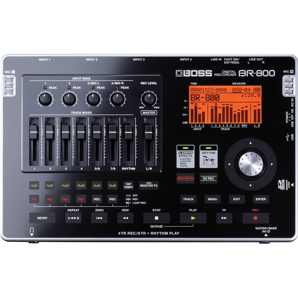 boss br 800 8 track portable digital audio recorder br 800 b h. Black Bedroom Furniture Sets. Home Design Ideas
