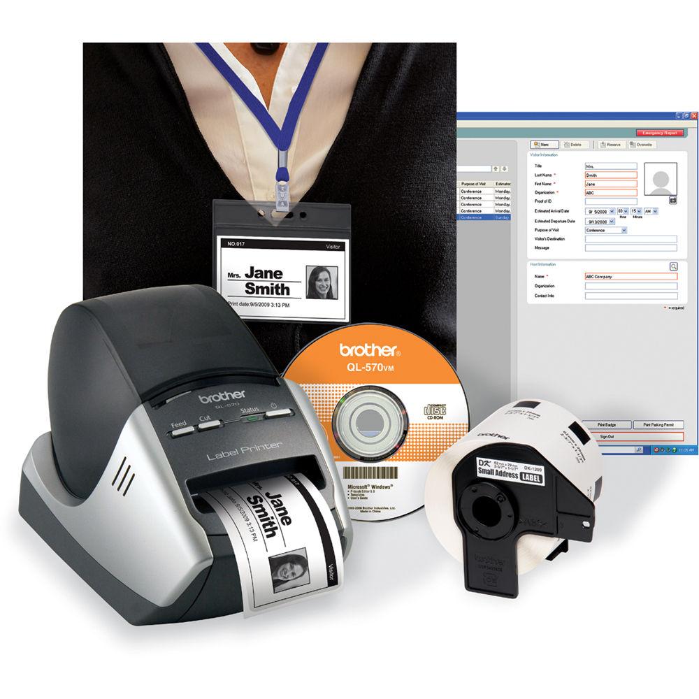Brother QL-570VM Visitor Badge & Management Kit QL-570VM B&H