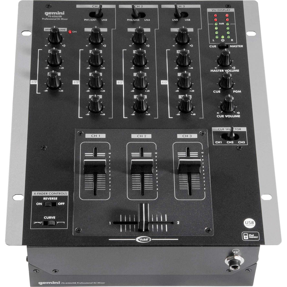 Gemini Ps 626usb Pro 3 Channel Stereo Mixer With Usb Audio