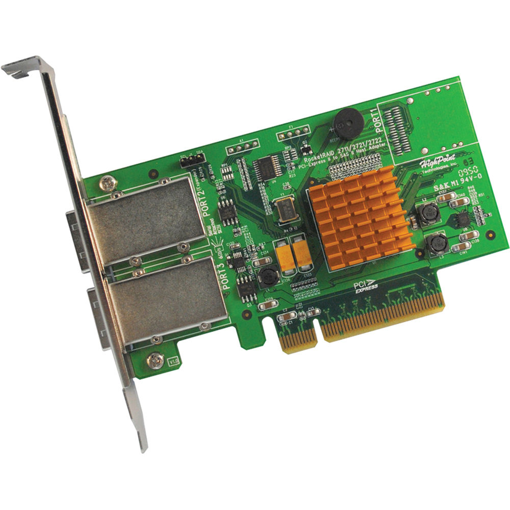 HighPoint RocketRAID 2722 2-Connector Mini-SAS PCI-Express RAID Controller  2.0 x8
