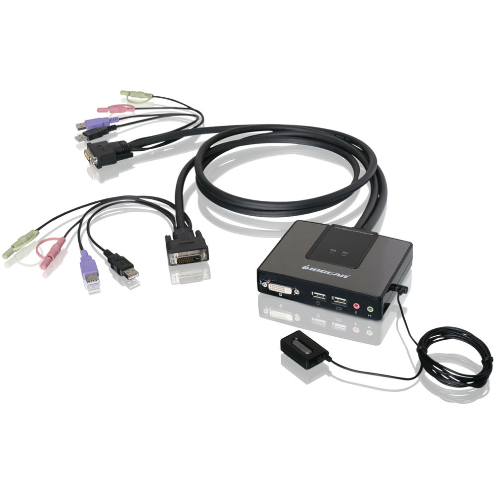IOGEAR 2 Port Dual Link DVI Cable KVM With Audio