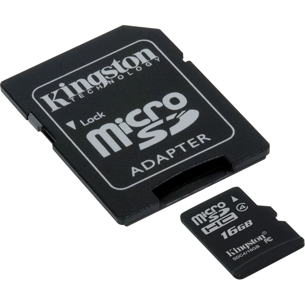 kingston 16gb microsdhc memory card class 4 with sd sdc4 16gb. Black Bedroom Furniture Sets. Home Design Ideas