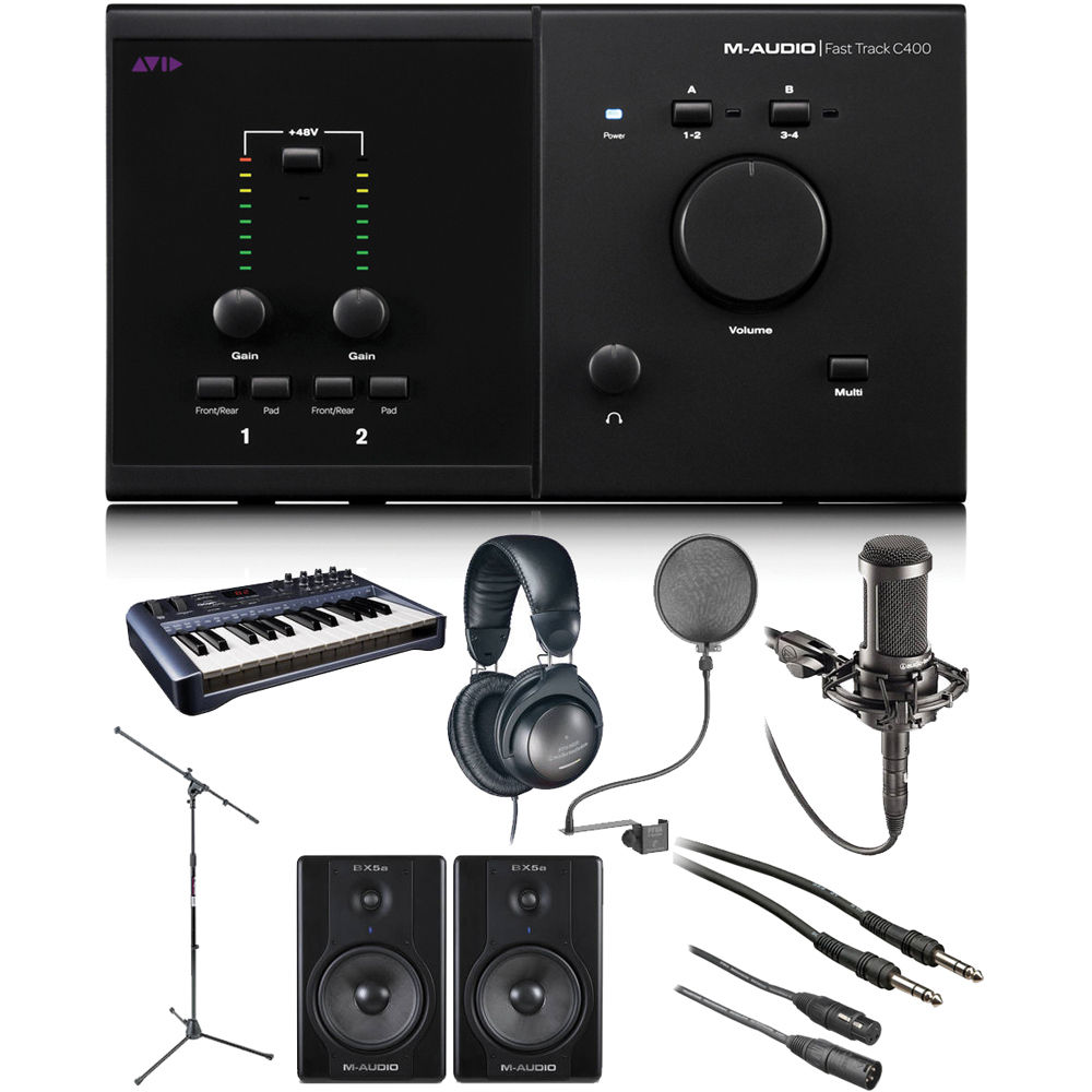 m audio fast track c400 recording studio bundle b h photo video. Black Bedroom Furniture Sets. Home Design Ideas