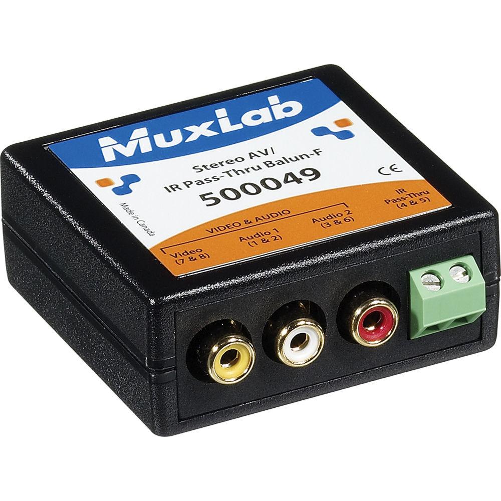 Muxlab 500049 Stereo Av Ir Pass Thru Balun Female Bh To Mono Rca