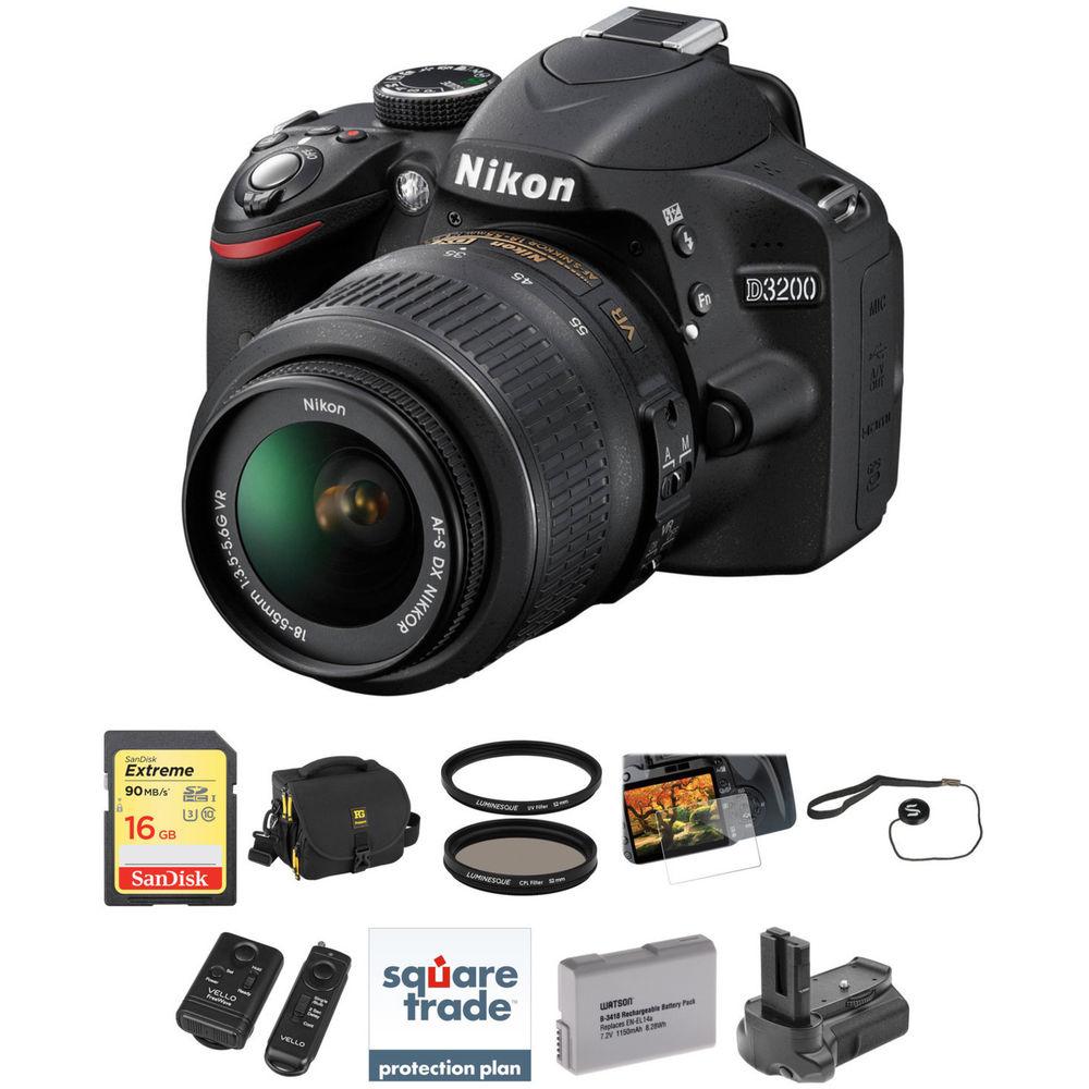 nikon d3200 dslr camera with 1855mm lens deluxe kit