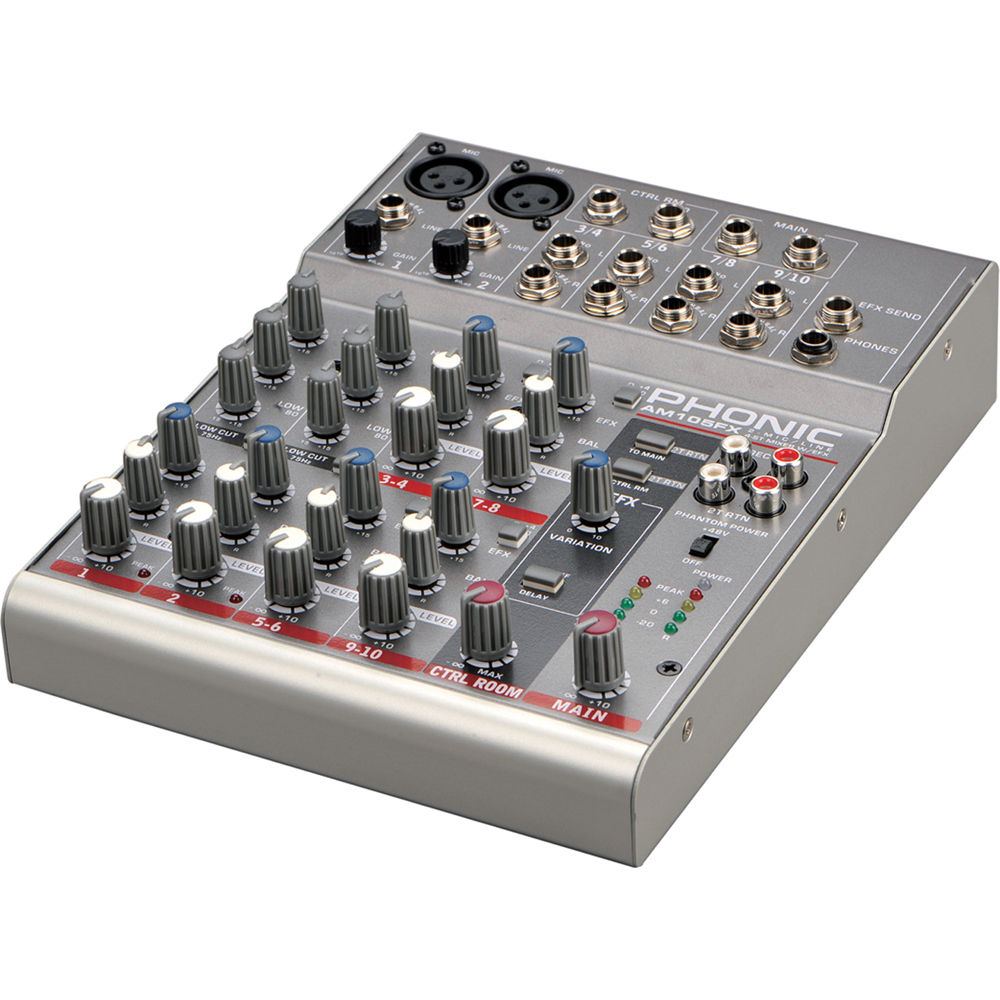phonic am 105fx 2 mic line 4 stereo compact analog mixer. Black Bedroom Furniture Sets. Home Design Ideas