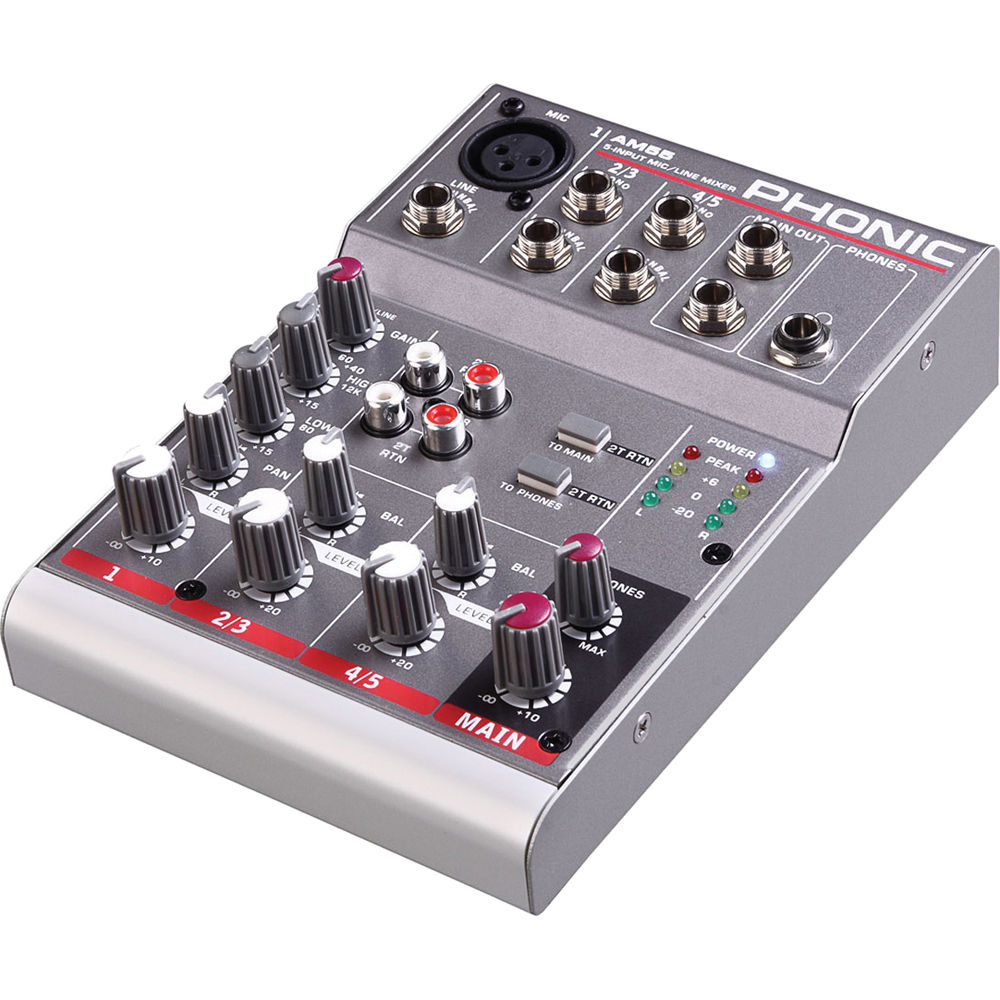 Phonic Am 55 1 Mic Line 2 Stereo Compact Analog Mixer Am55 Bh Audio Mixers Projects Circuits 7