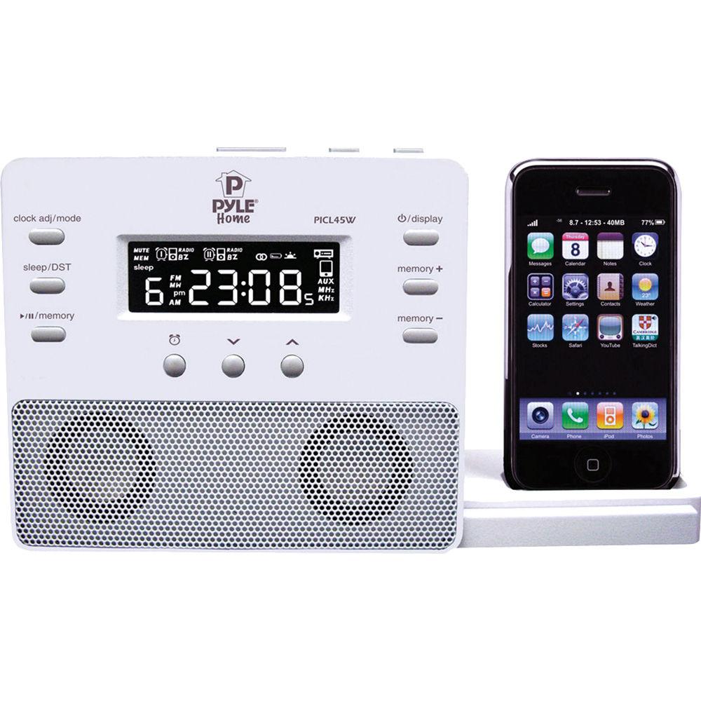 pyle home enhanced ipod iphone alarm clock speaker picl45w b h. Black Bedroom Furniture Sets. Home Design Ideas