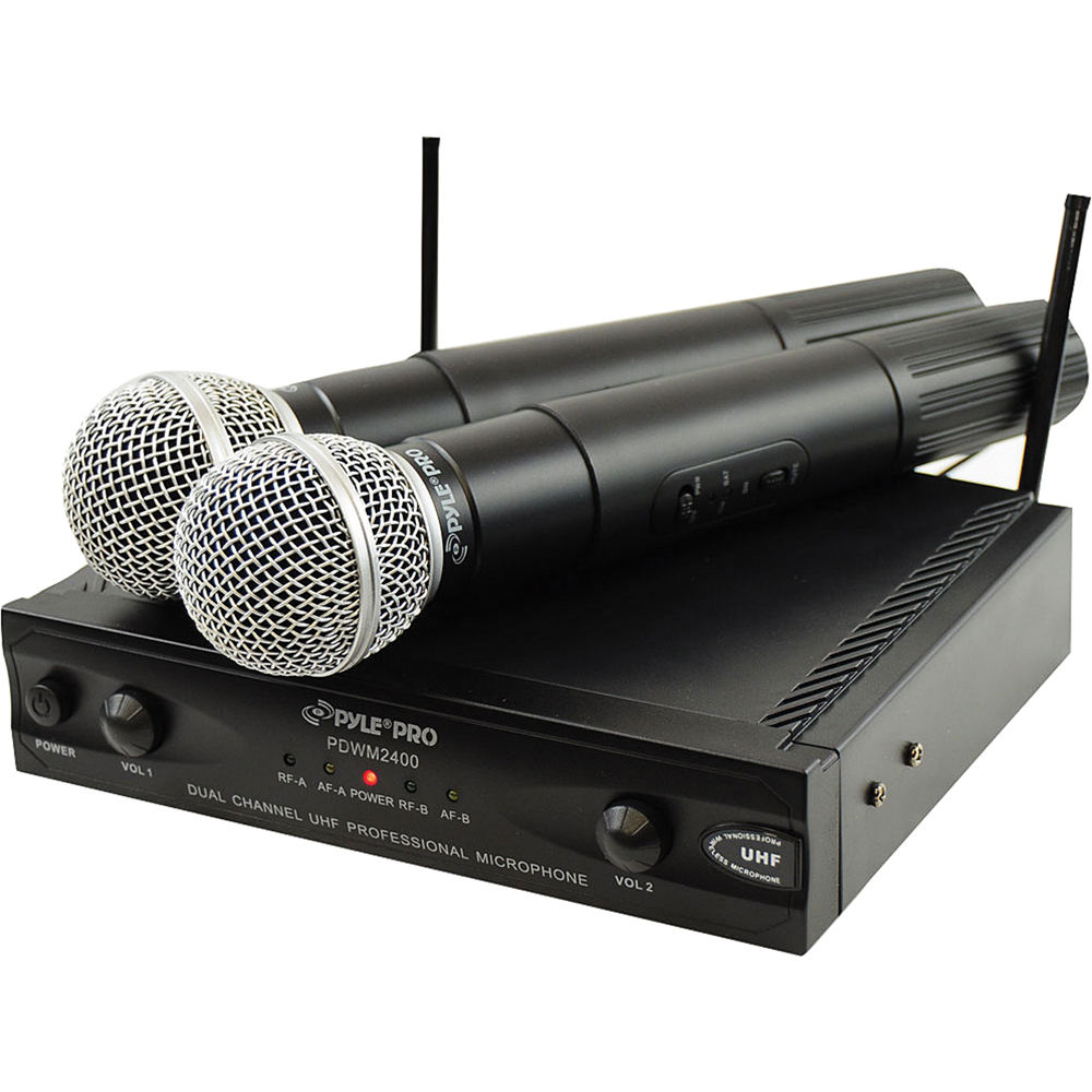 pyle pro pdwm2400 2 channel uhf wireless microphone pdwm2400 b h. Black Bedroom Furniture Sets. Home Design Ideas