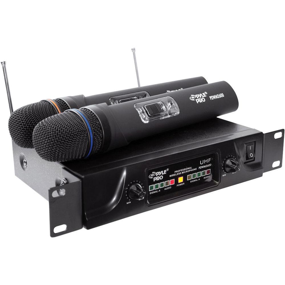 pyle pro pdwm2600 dual uhf wireless microphone system pdwm2600. Black Bedroom Furniture Sets. Home Design Ideas