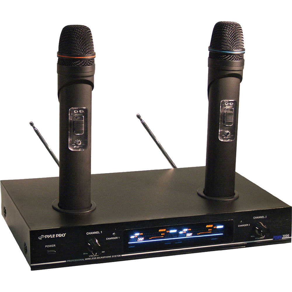 pyle pro pdwm3000 dual vhf rechargeable wireless pdwm3000 b h. Black Bedroom Furniture Sets. Home Design Ideas