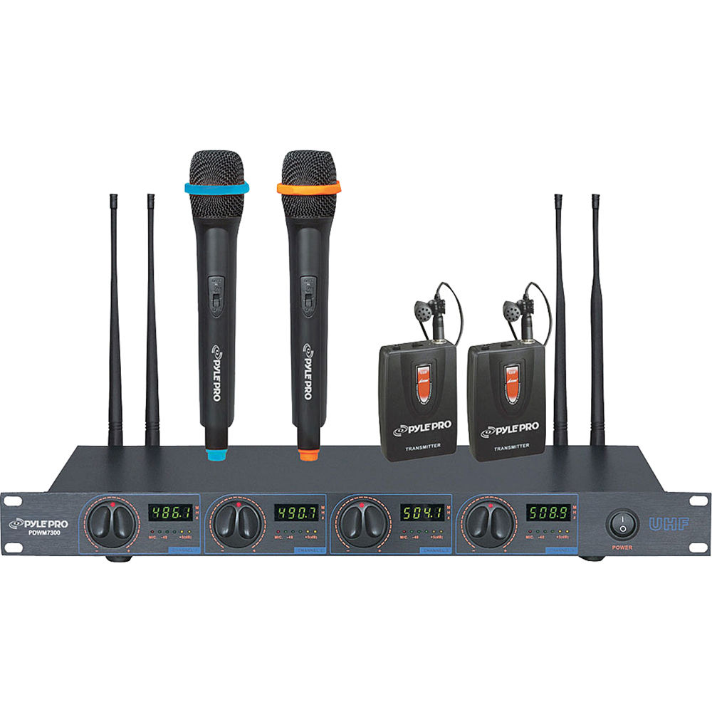 pyle pro pdwm7300 4 channel wireless uhf microphone pdwm7300 b h. Black Bedroom Furniture Sets. Home Design Ideas