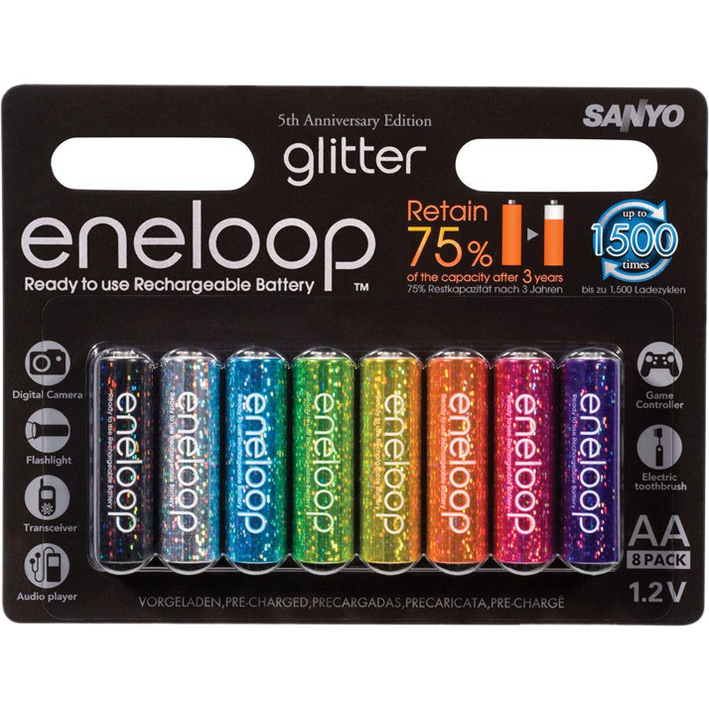 Sanyo Eneloop Glitter Aa Rechargeable Ni Mh 8hr3utga Gl B Amp H