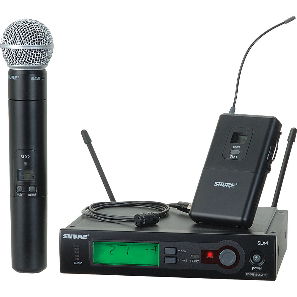 shure slx series wireless microphone combo slx124 85 sm58 g4 b h. Black Bedroom Furniture Sets. Home Design Ideas
