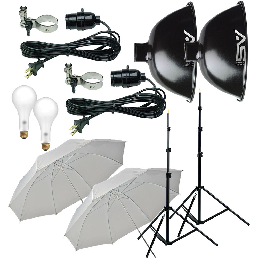Smith-Victor KT500U 2-Light 500 Watt Thrifty Basic Umbrella Kit (120V)  sc 1 st  Bu0026H & Smith-Victor KT500U 2-Light 500 Watt Thrifty Basic 401430 Bu0026H azcodes.com