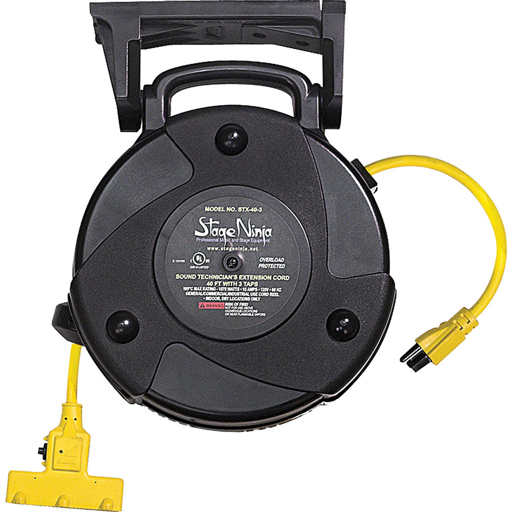 stage ninja 123 awg retractable power reel with 3tap head and circuit