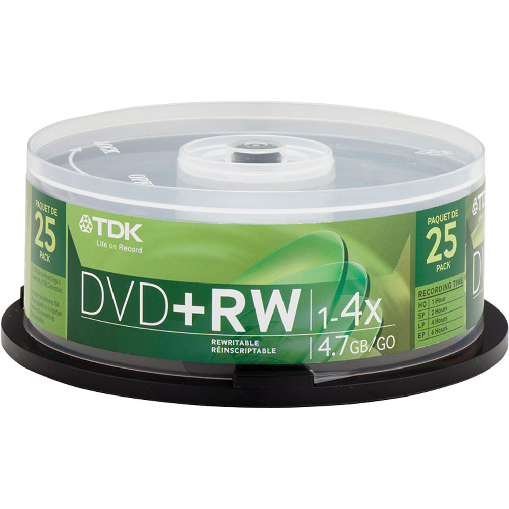 tdk dvd rw 4 7gb 4x disc 25 48332 b h photo video. Black Bedroom Furniture Sets. Home Design Ideas