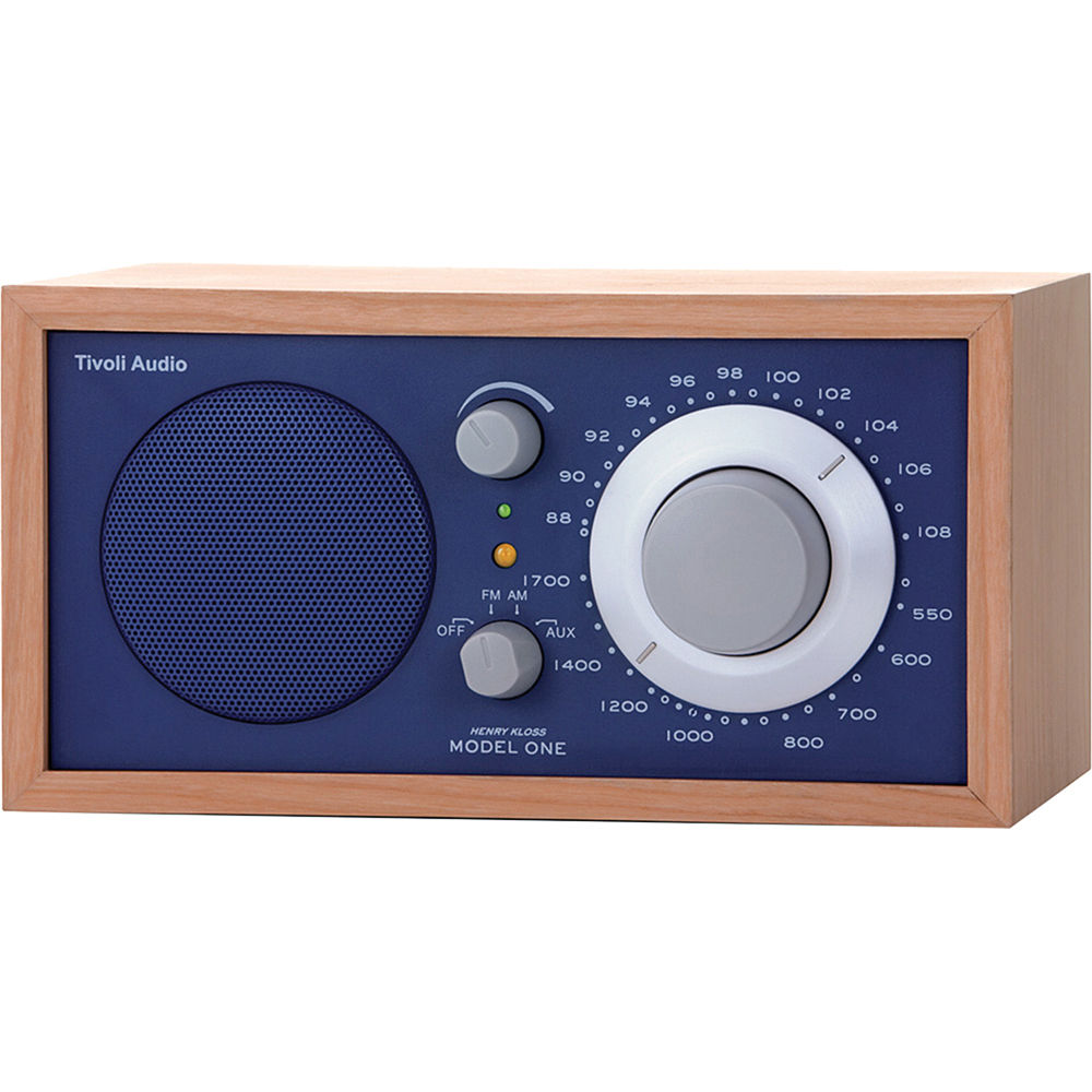 tivoli model one am fm table radio cherry cobalt blue. Black Bedroom Furniture Sets. Home Design Ideas