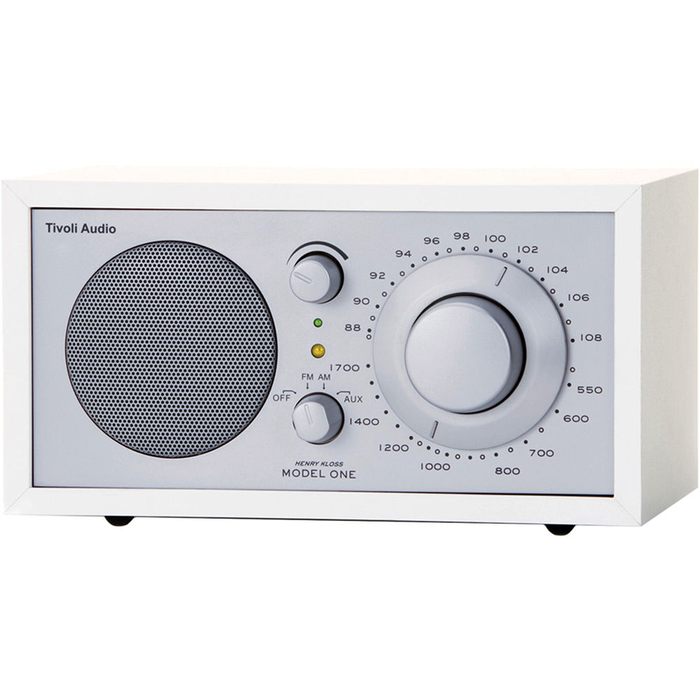 tivoli model one am fm table radio silver white m1wht b h. Black Bedroom Furniture Sets. Home Design Ideas