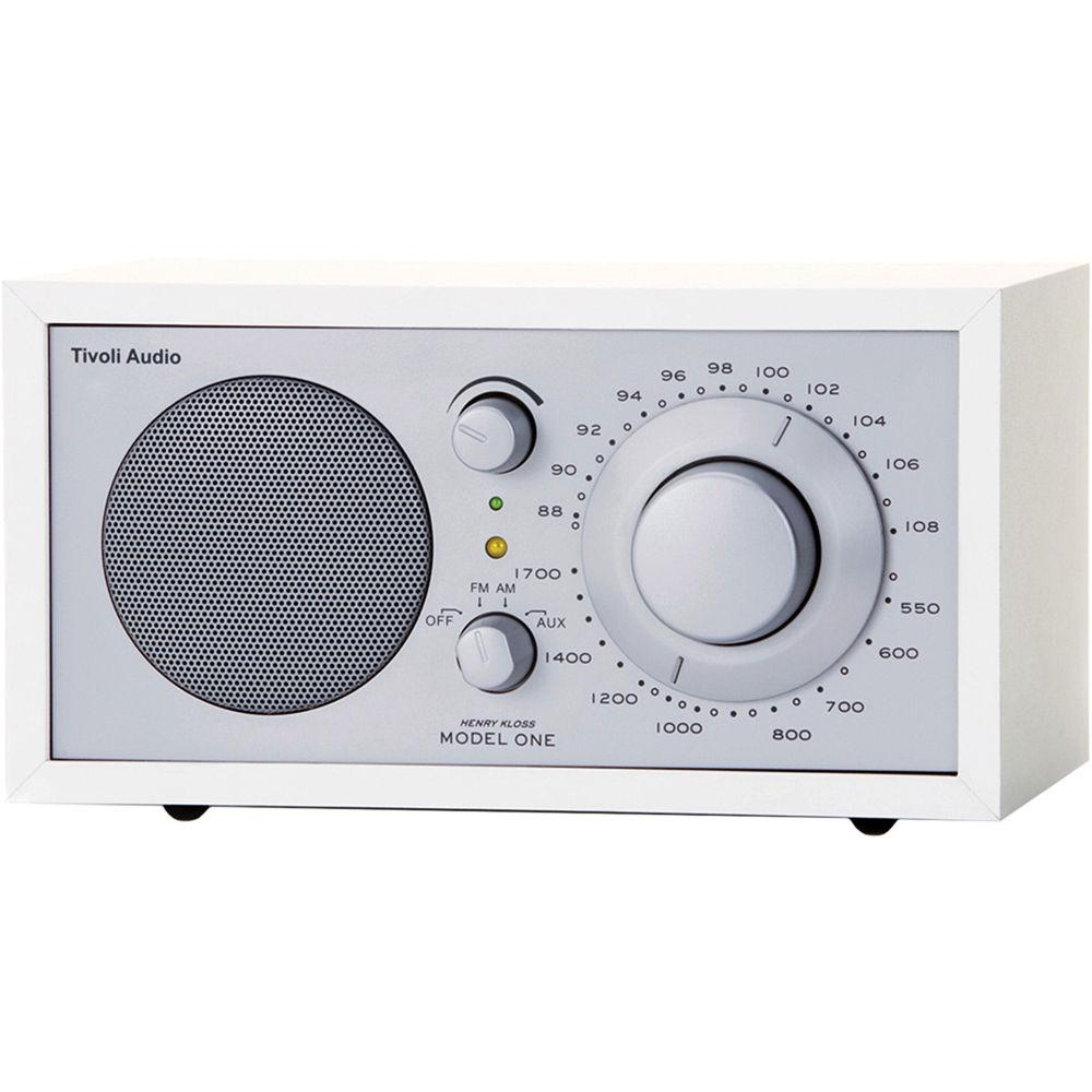 tivoli model one am fm table radio silver white m1wht b h. Black Bedroom Furniture Sets. Home Design Ideas