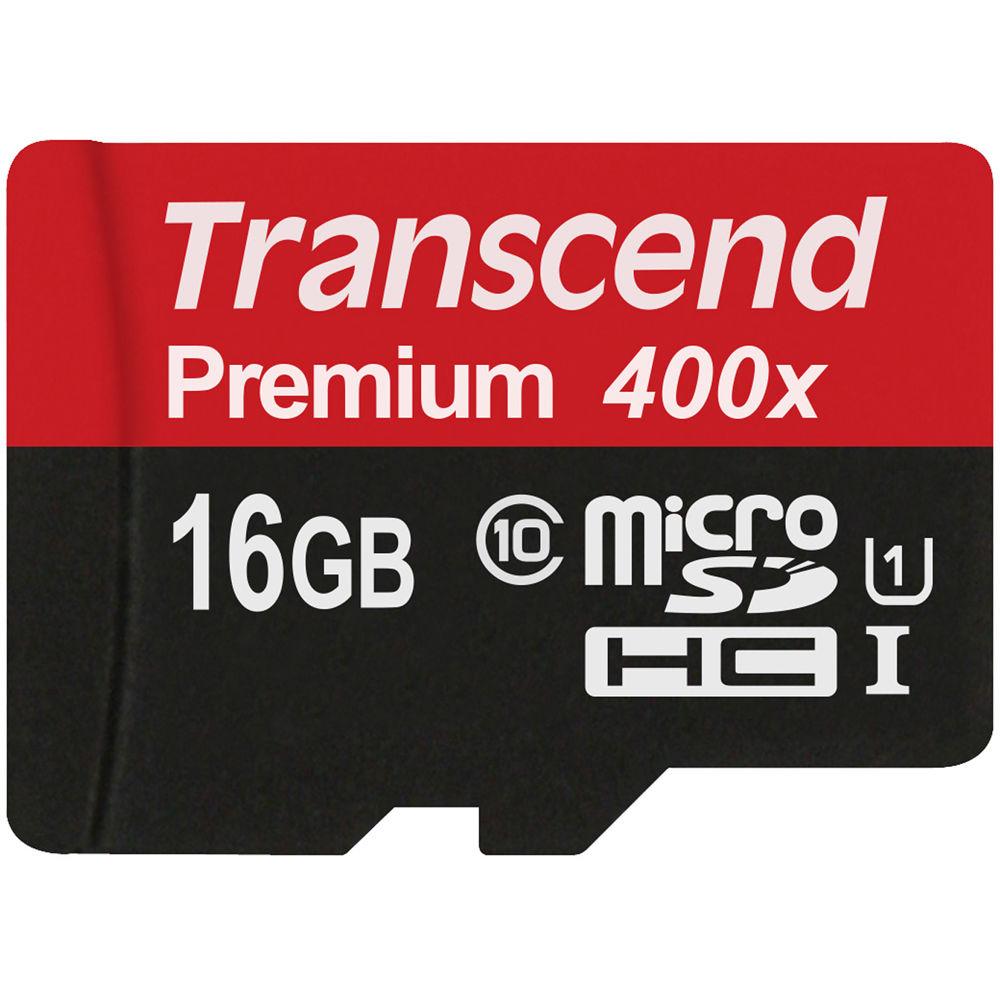 Transcend 16GB microSDHC Memory Card Premium 400x ...