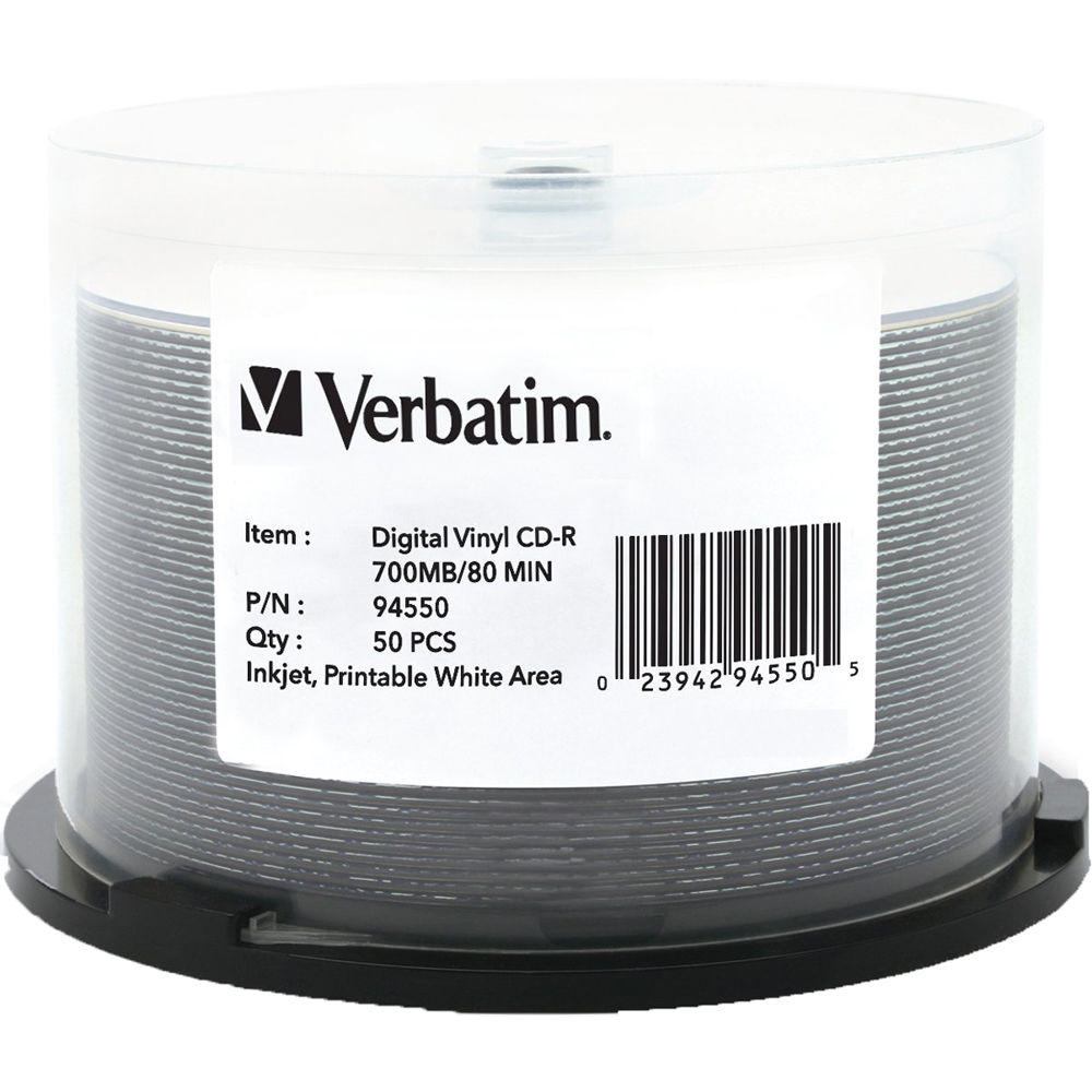 photo relating to Verbatim Cd R Printable titled Verbatim CD-R 700MB Produce The moment Electronic Vinyl White Inkjet Printable Hub Printable Recordable Small Disc (Spindle Pack of 50)