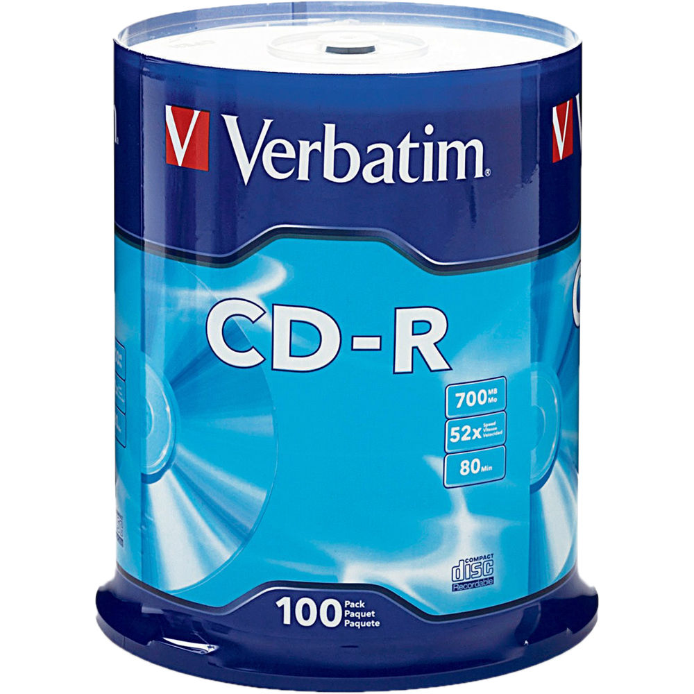 Verbatim CD-R 700MB Disc (Spindle Pack of 100) 94554 B&H Photo