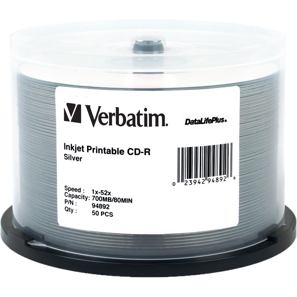 graphic regarding Blank Printable Cds referred to as Verbatim CD-R 700MB 52x Generate When DataLifePlus Slver Inkjet Printable Recordable Little Disc (Spindle Pack of 50)