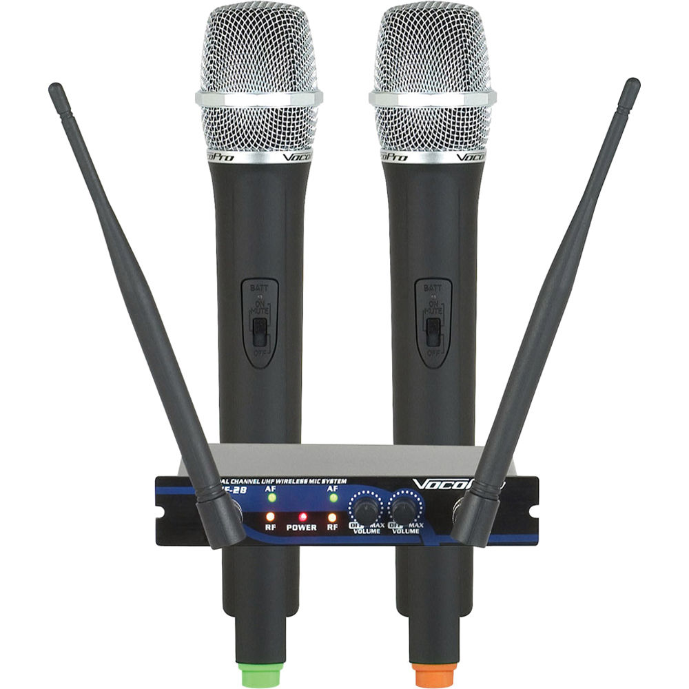 vocopro uhf 28 dual channel uhf wireless microphone uhf 28 7 b h. Black Bedroom Furniture Sets. Home Design Ideas
