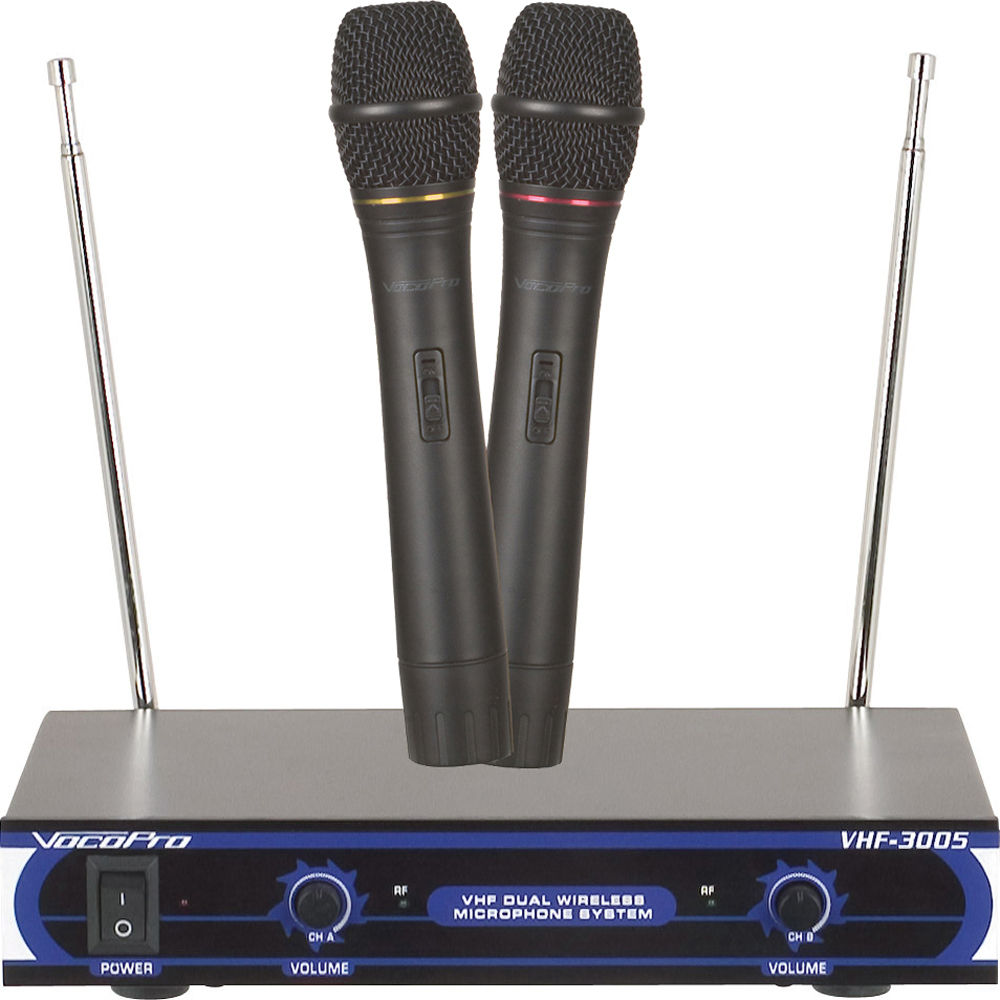 vocopro vhf 3005 dual channel vhf wireless microphone vhf 3005 3. Black Bedroom Furniture Sets. Home Design Ideas