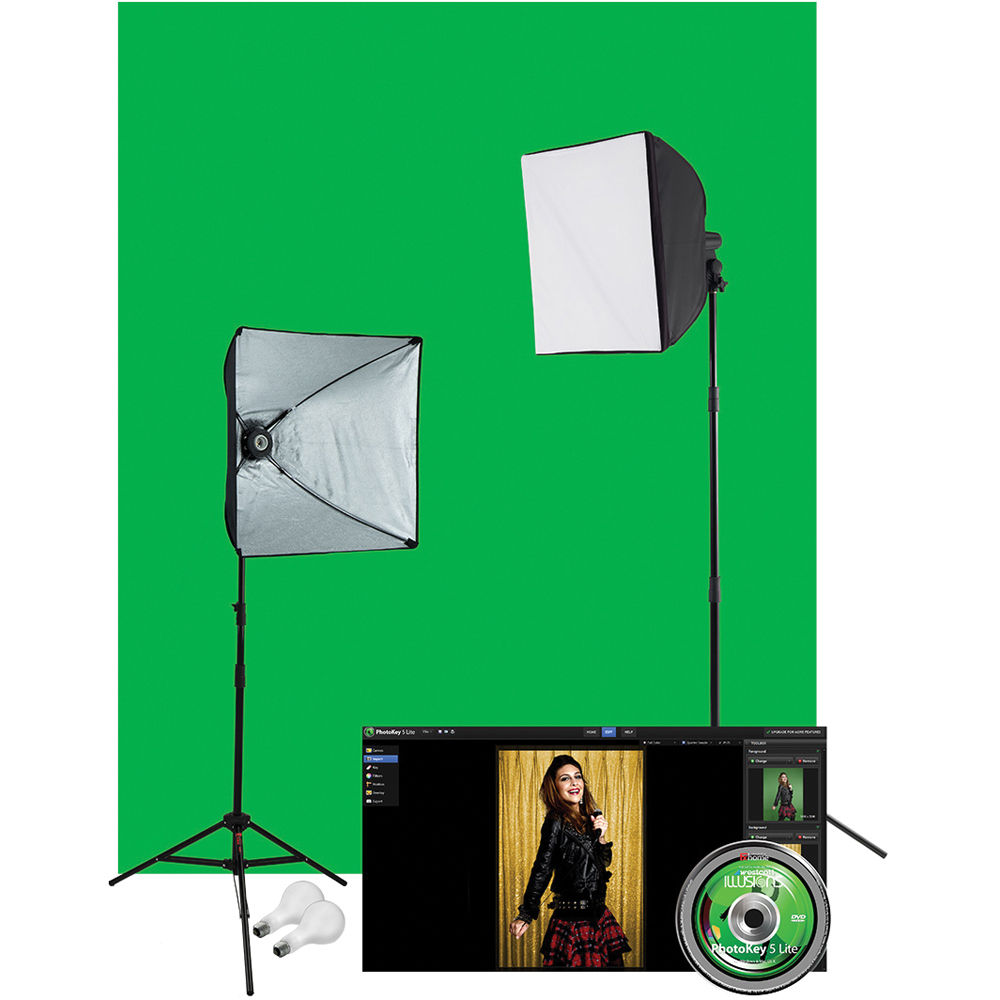 Westcott Illusions uLite 2-Light Green Screen Photo Lighting Kit (120VAC)  sc 1 st  Bu0026H : chroma key lighting kit - azcodes.com