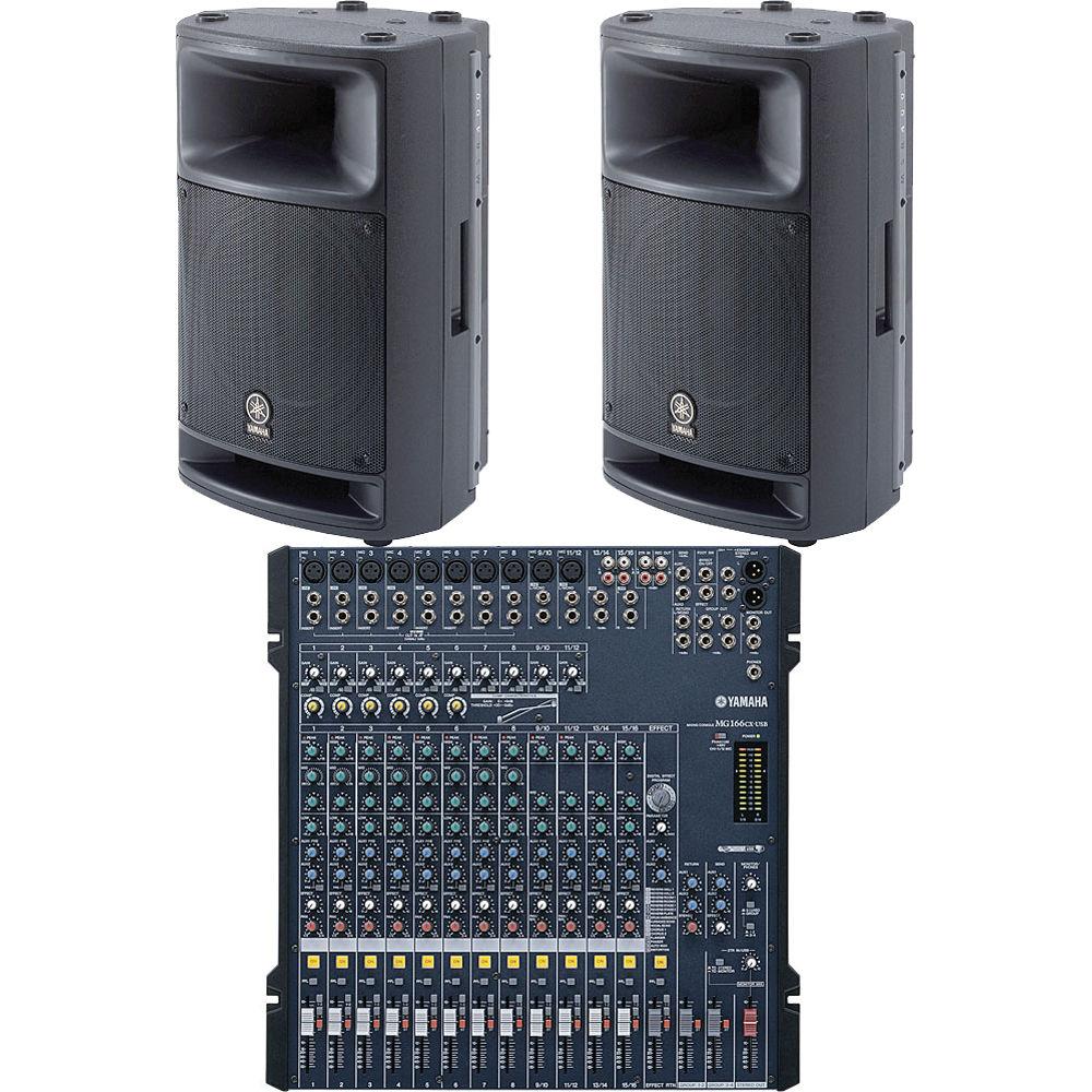 Yamaha mixing console pro audio mg166cx msr400 bundle b h for Yamaha sound console