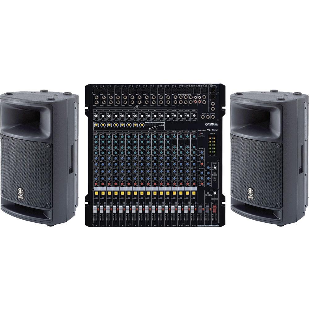 Yamaha mixing console pro audio bundle mg206c msr400 for Yamaha sound console