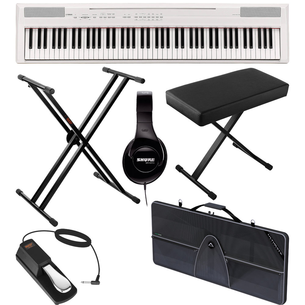 yamaha p 105 88 key piano value bundle white b h photo video. Black Bedroom Furniture Sets. Home Design Ideas