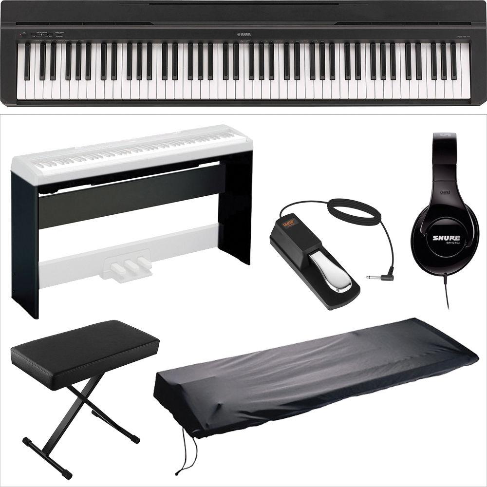 yamaha yamaha p 35 compact 88 key piano home studio kit black. Black Bedroom Furniture Sets. Home Design Ideas