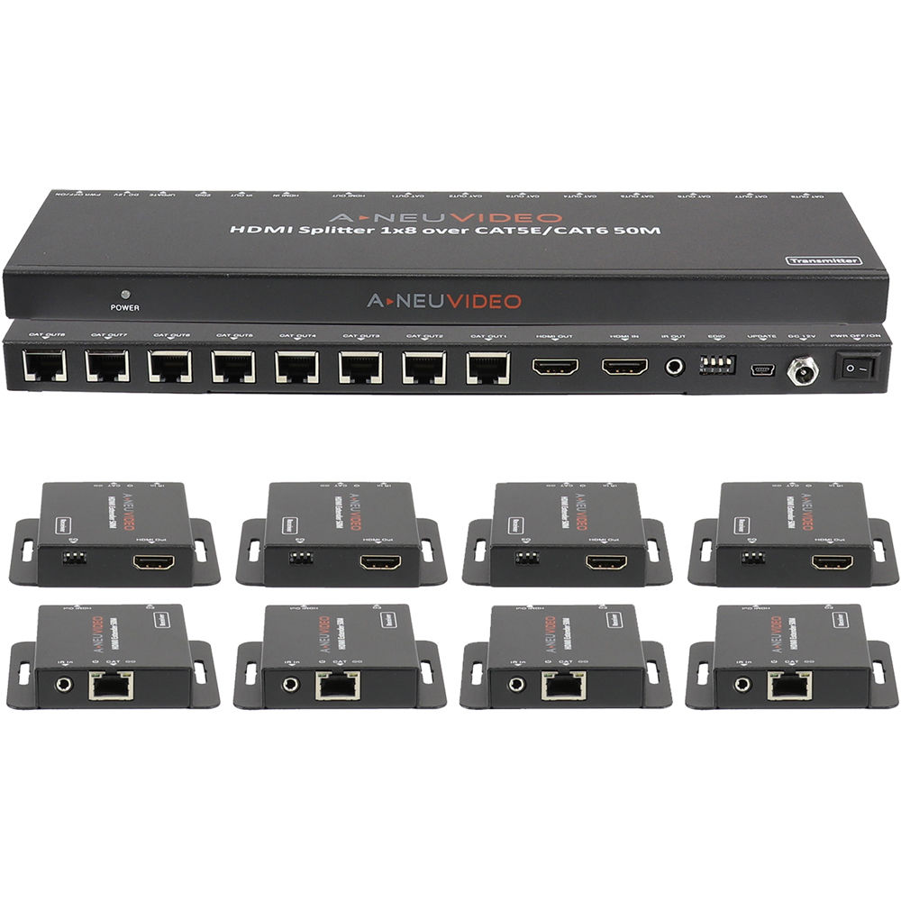 A Neuvideo 1 X 8 Hdmi Splitter And Extender Over Ani 0108poe Bh Bits Datas Circuit For Audio Cat5e 6 System
