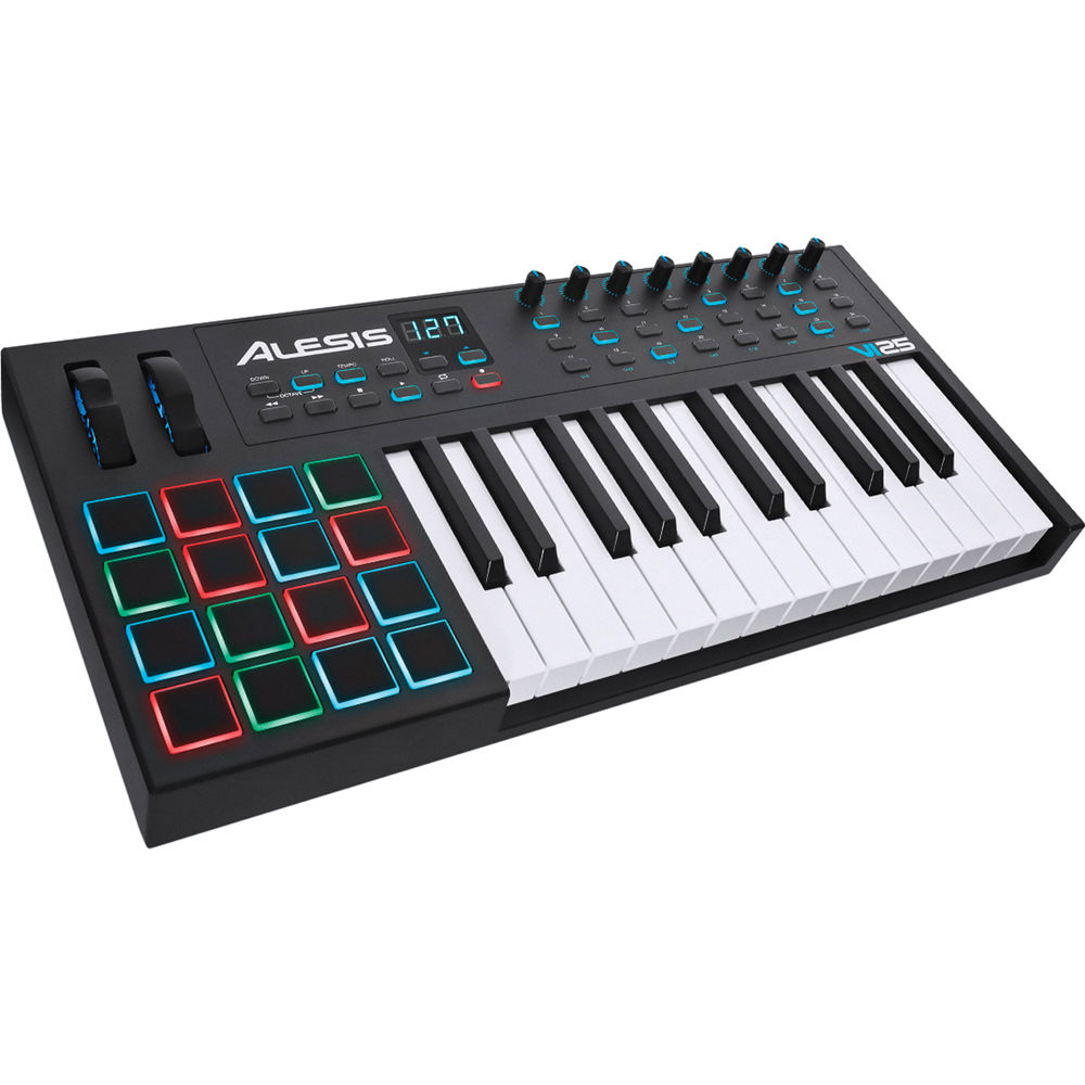 alesis vi25 25 key usb midi keyboard controller vi25 b h photo. Black Bedroom Furniture Sets. Home Design Ideas