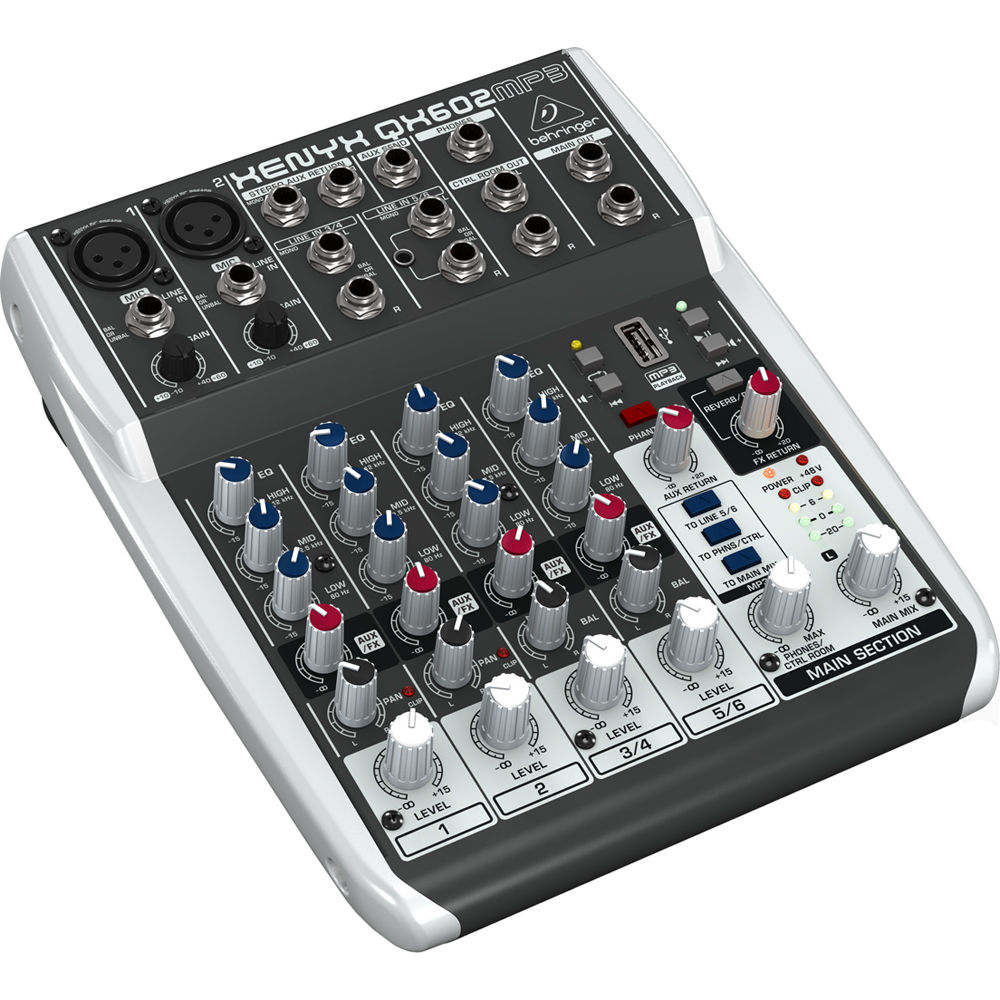 behringer xenyx qx602mp3 6 input 2 bus analog mixer qx602mp3 b h. Black Bedroom Furniture Sets. Home Design Ideas