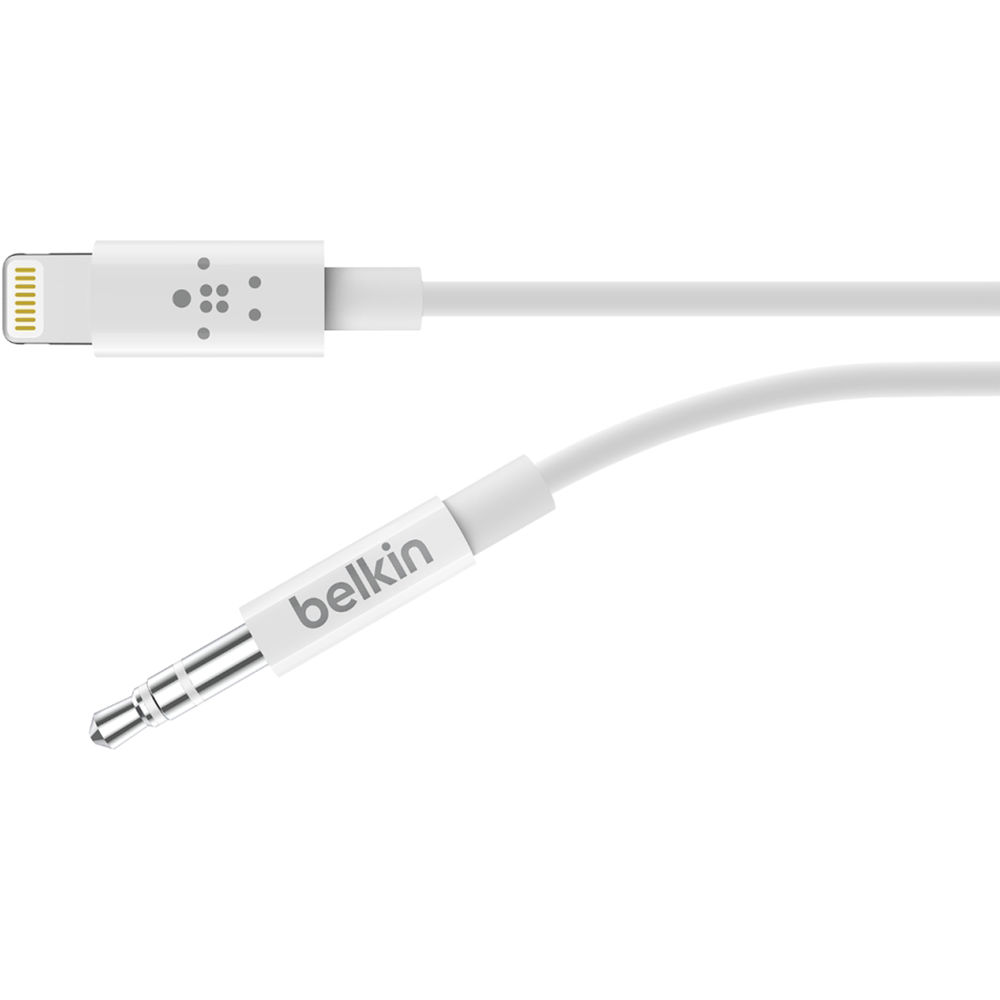 Lightning To 3 5mm Male: Belkin 3.5mm Audio To Lightning Cable (3', White